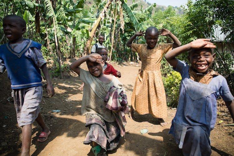kids walking in Uganda