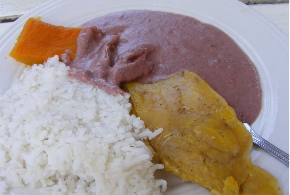 Uganda food, A dish of Boiled Rice, Matooke, Pumpkin and G-nute Sauce