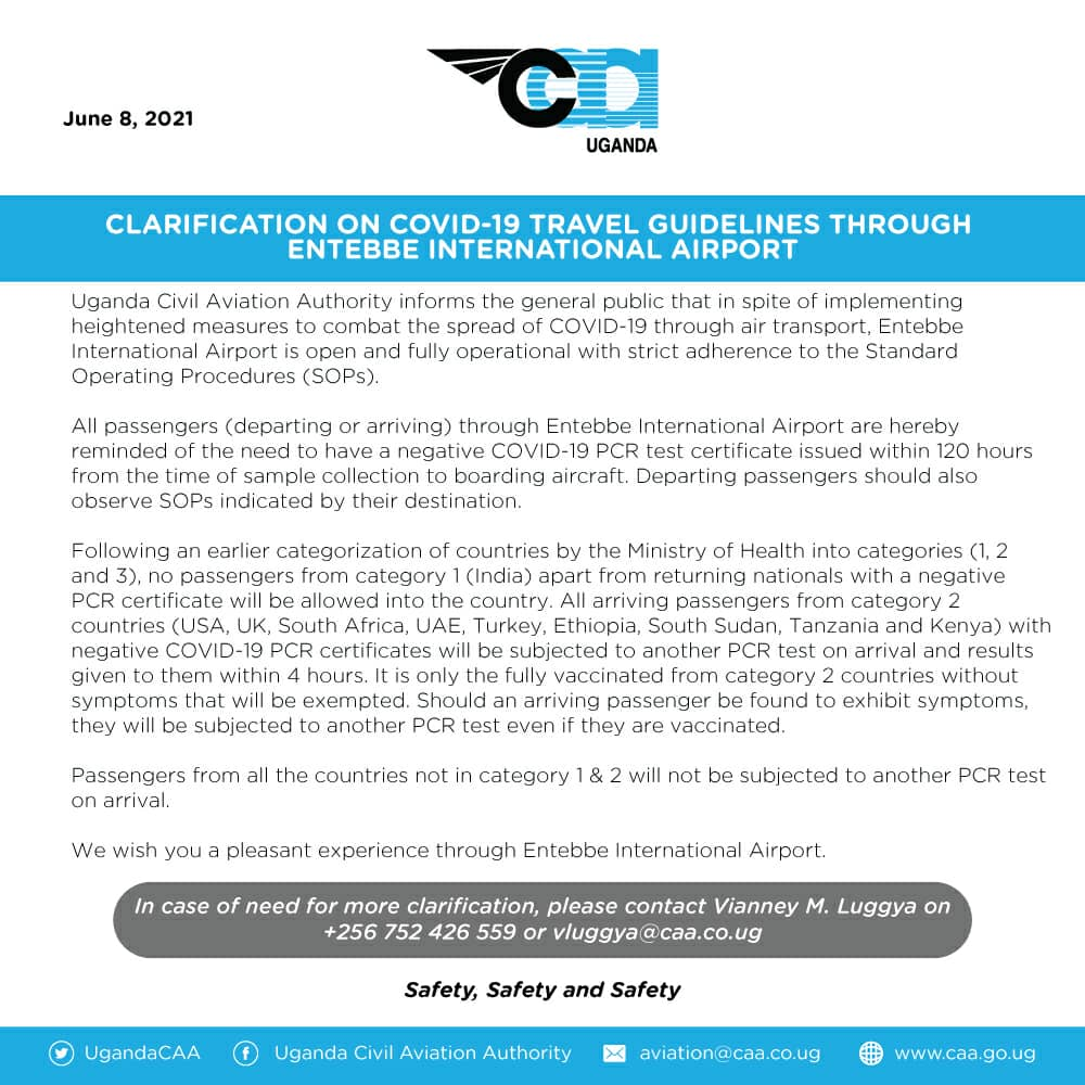 CAA Guidelines for COVID travel in Uganda