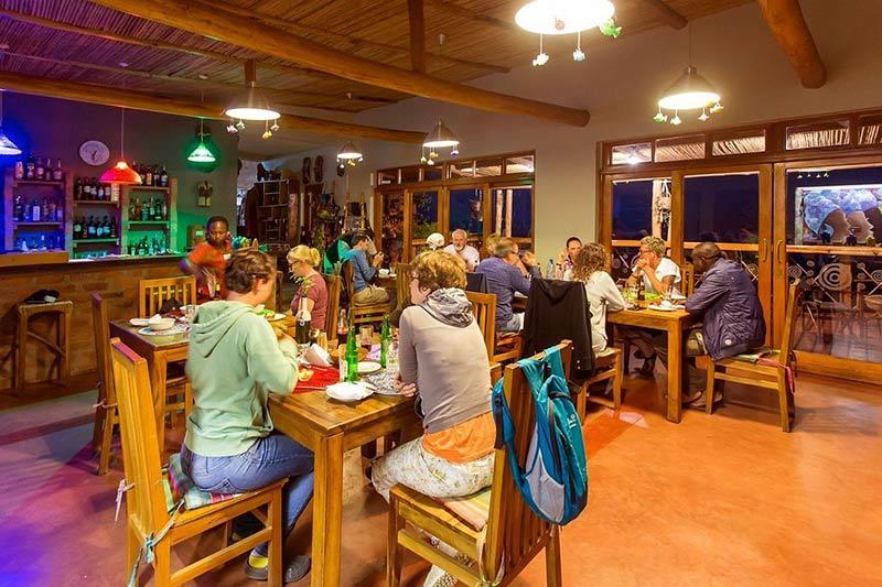Chameleon Hill lodge restaurant, accommodation for gorilla trekking in southern bwindi